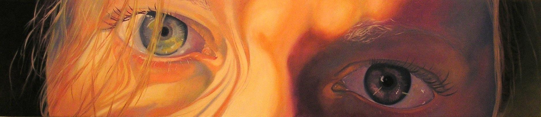 "Self portrait, 12x40"", oil on panel, 2005"
