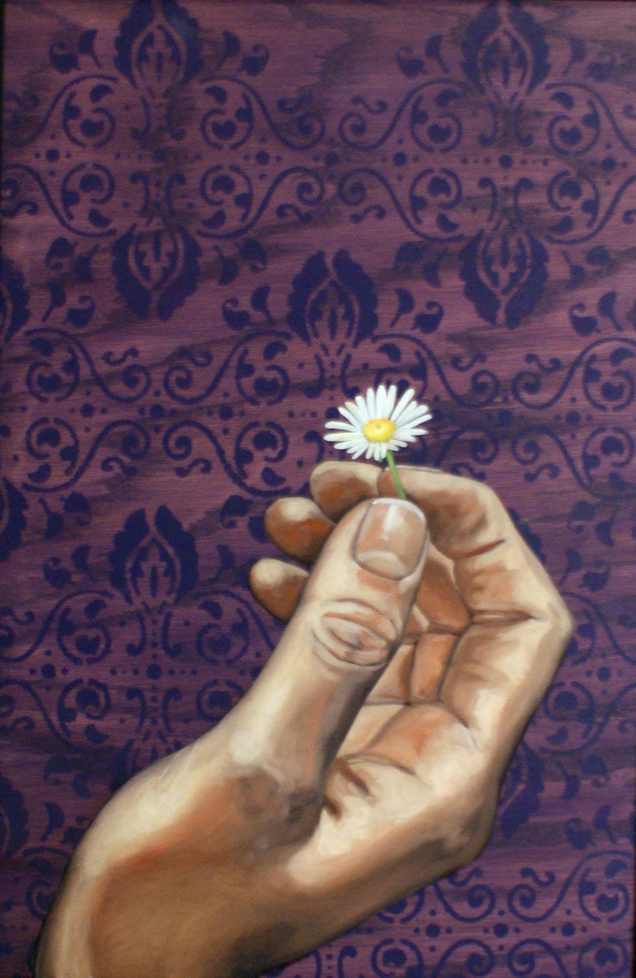 """Grow, 24 """" x 16 """", oil and acrylic on wood, 2014"""