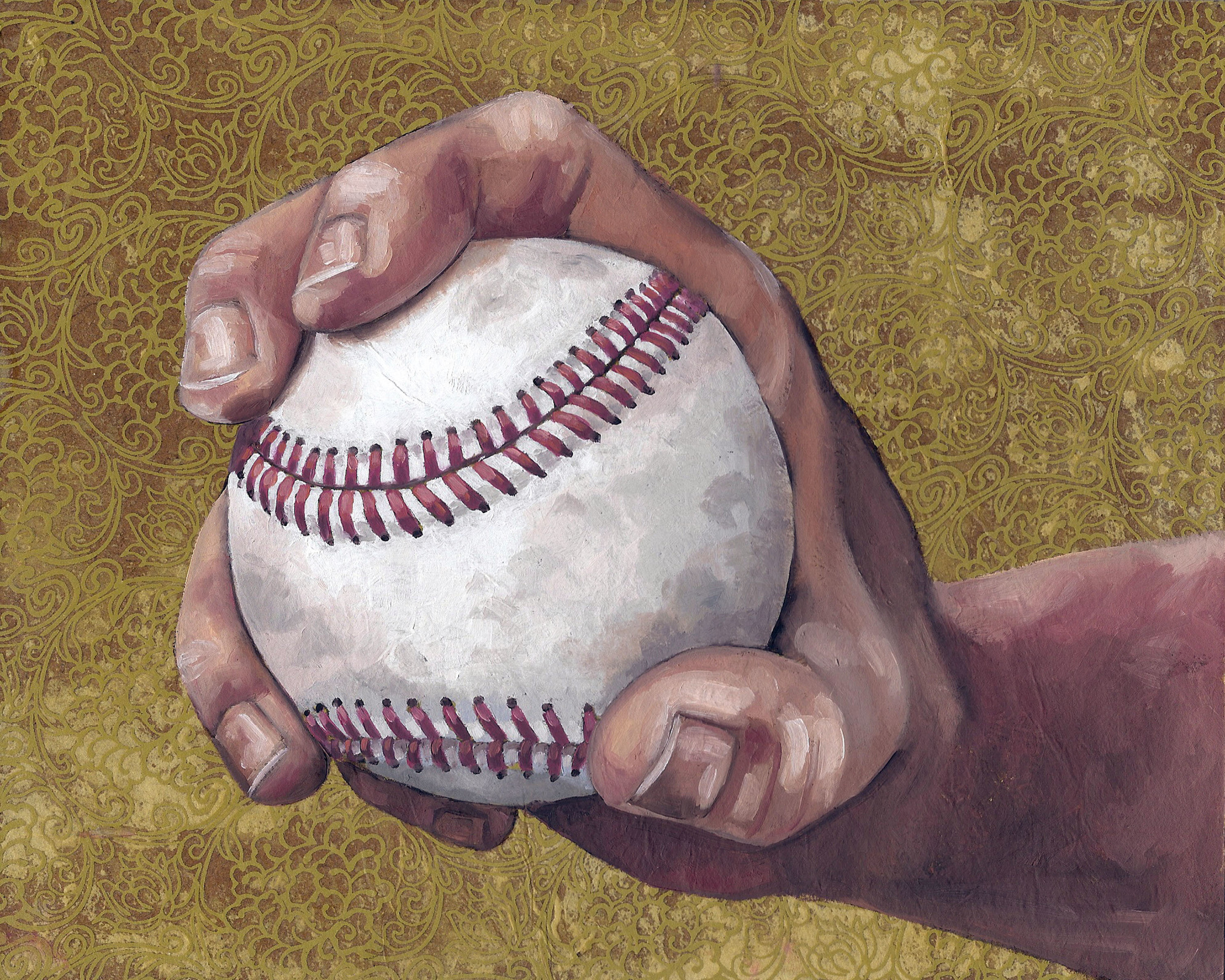"""Baseball 1, 8 x 10"""", oil and rice paper on panel, 2014"""