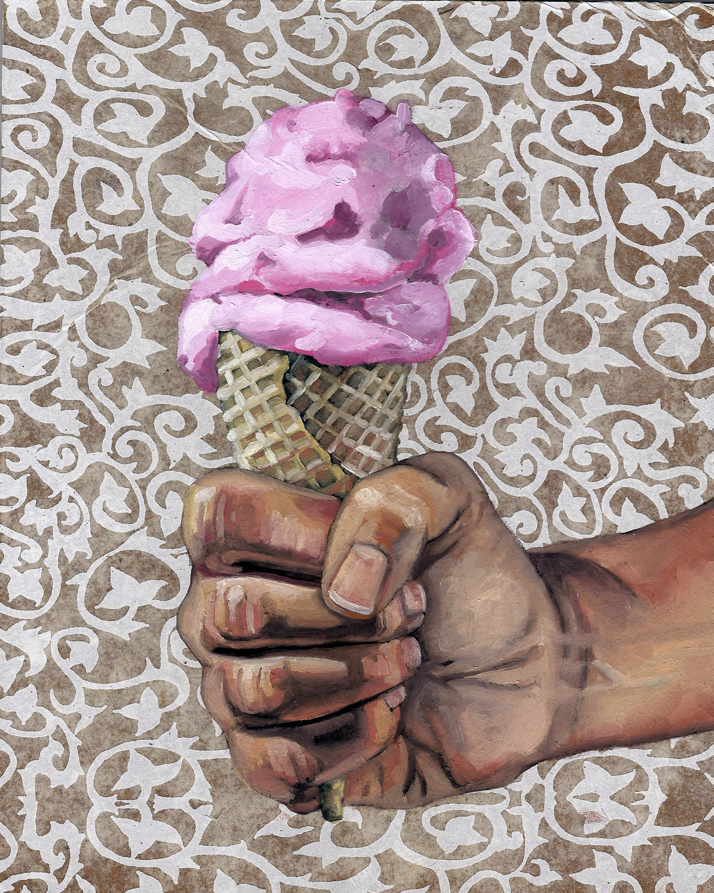 """Ice Cream, 8 x 10"""", oil and rice paper on panel, 2014"""