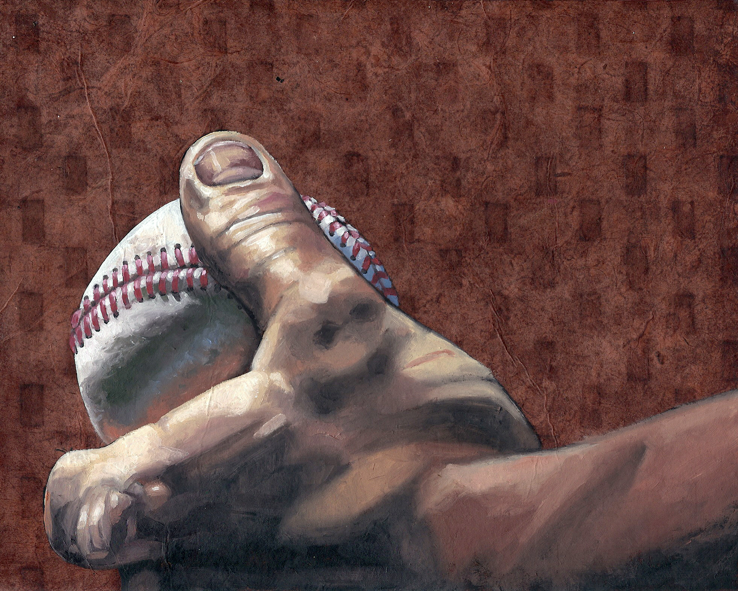 """Baseball 2, 8 x 10"""", oil and rice paper on panel, 2014"""