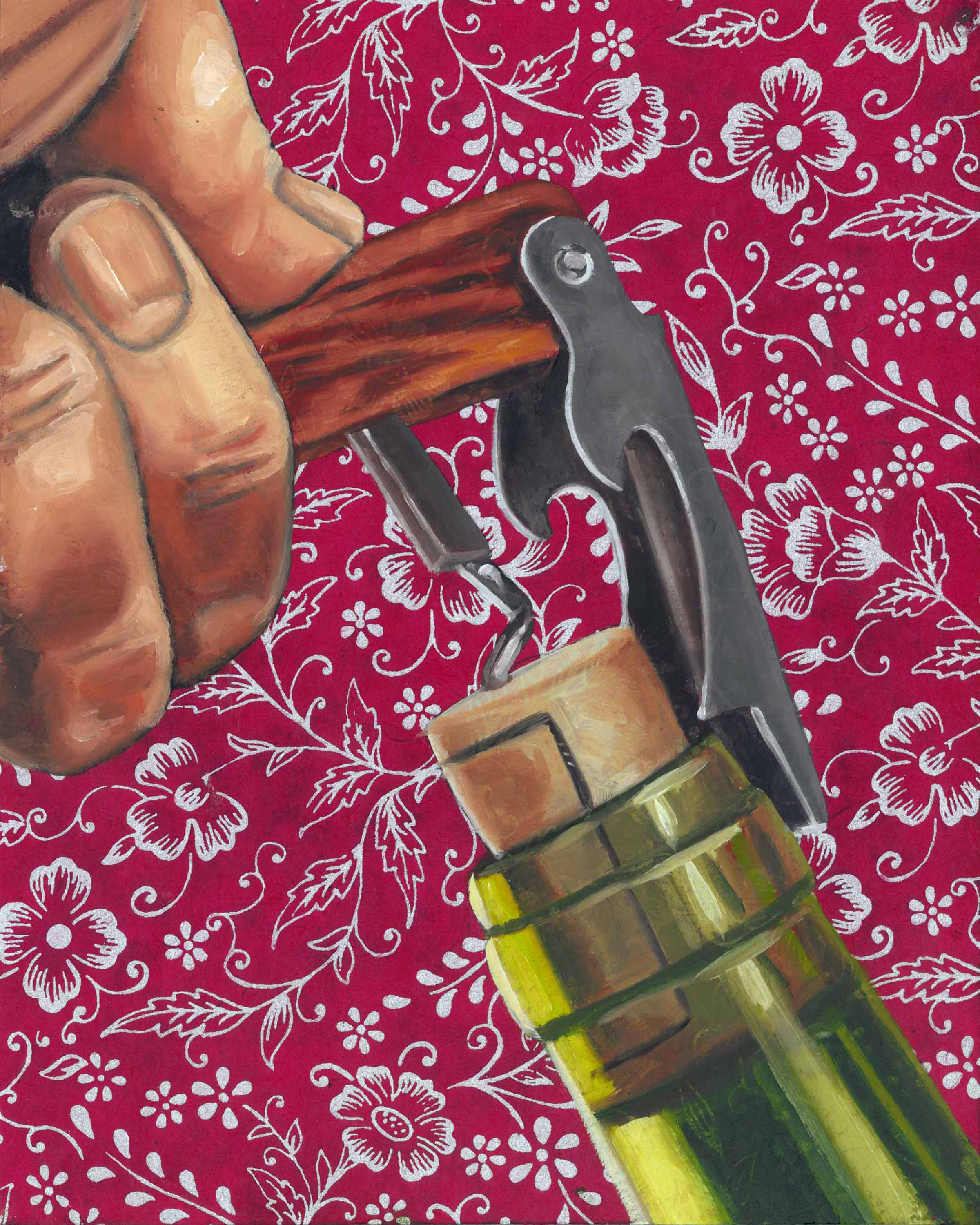 """Wine Key, 8 x 10"""", oil and rice paper on panel, 2014"""