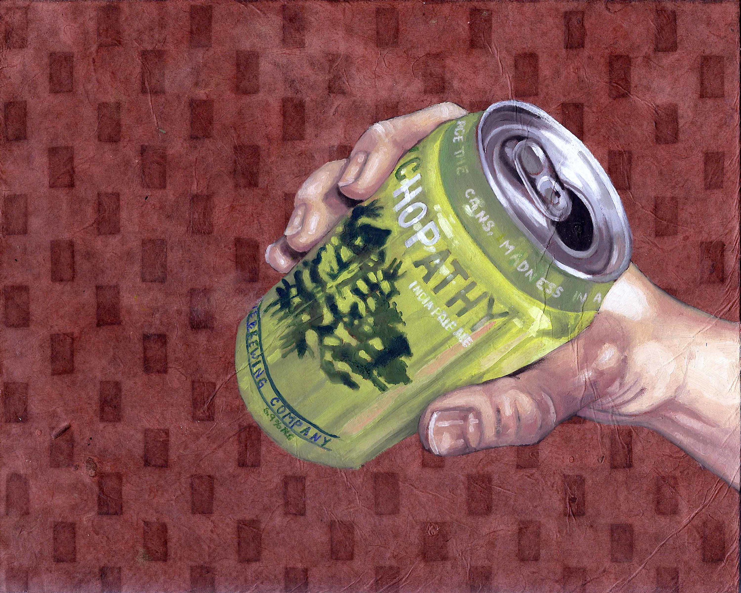 """Psychopathy, 8 x 10"""", oil and rice paper on panel, 2014"""