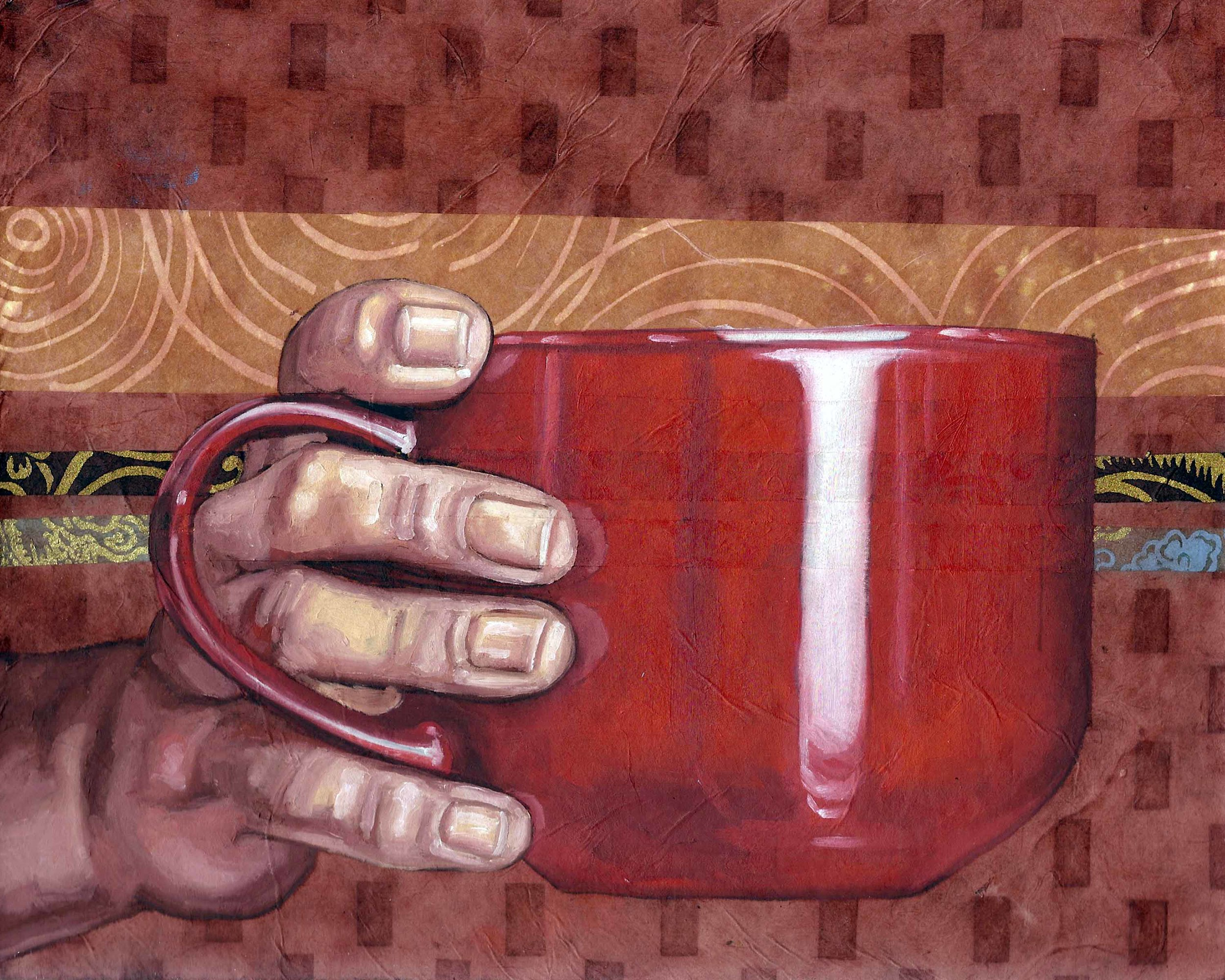 "Coffee Mug, 8 x 10"", oil and rice paper on panel, 2014"