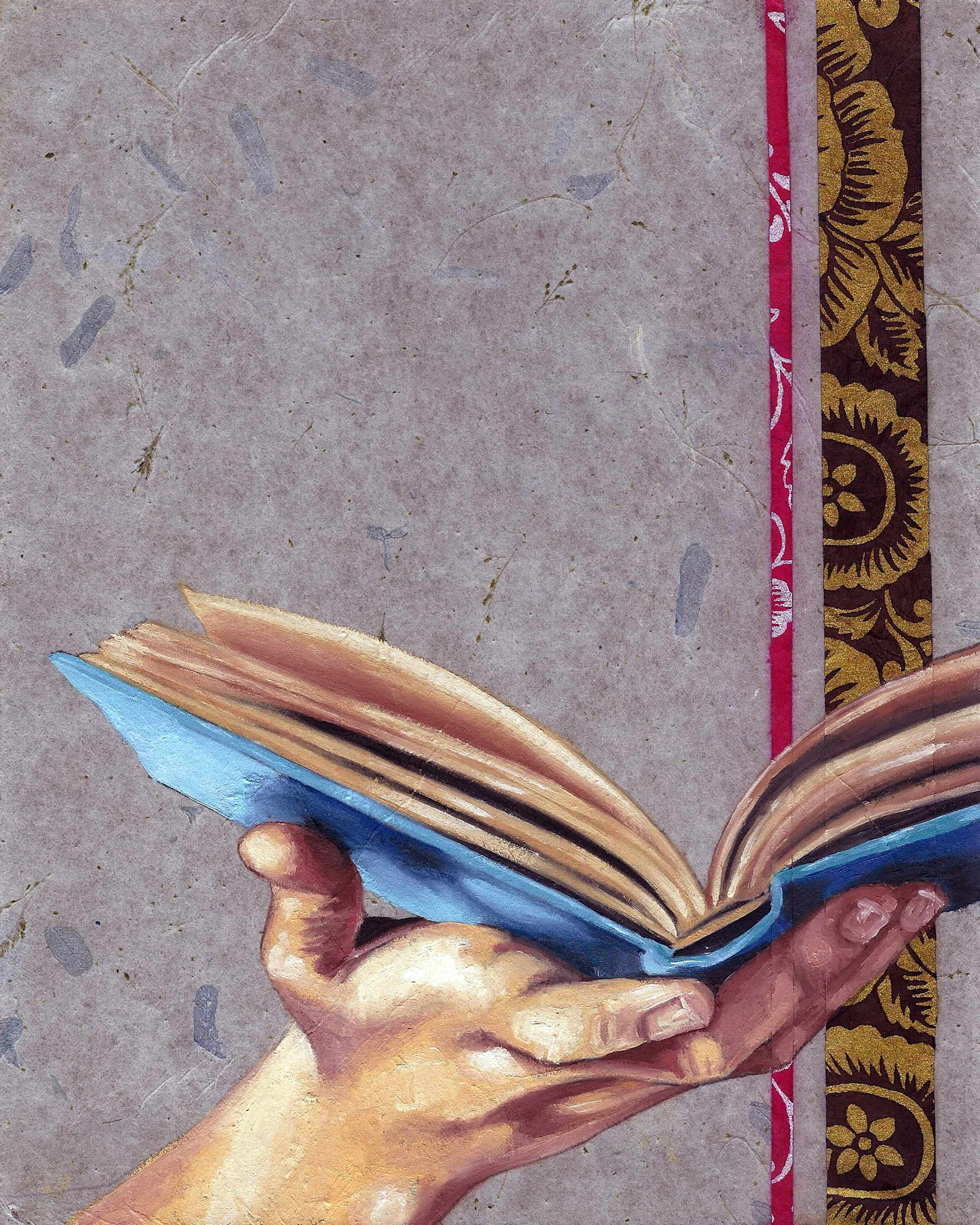 """Open Book, 8 x 10"""", oil and rice paper on panel, 2014"""