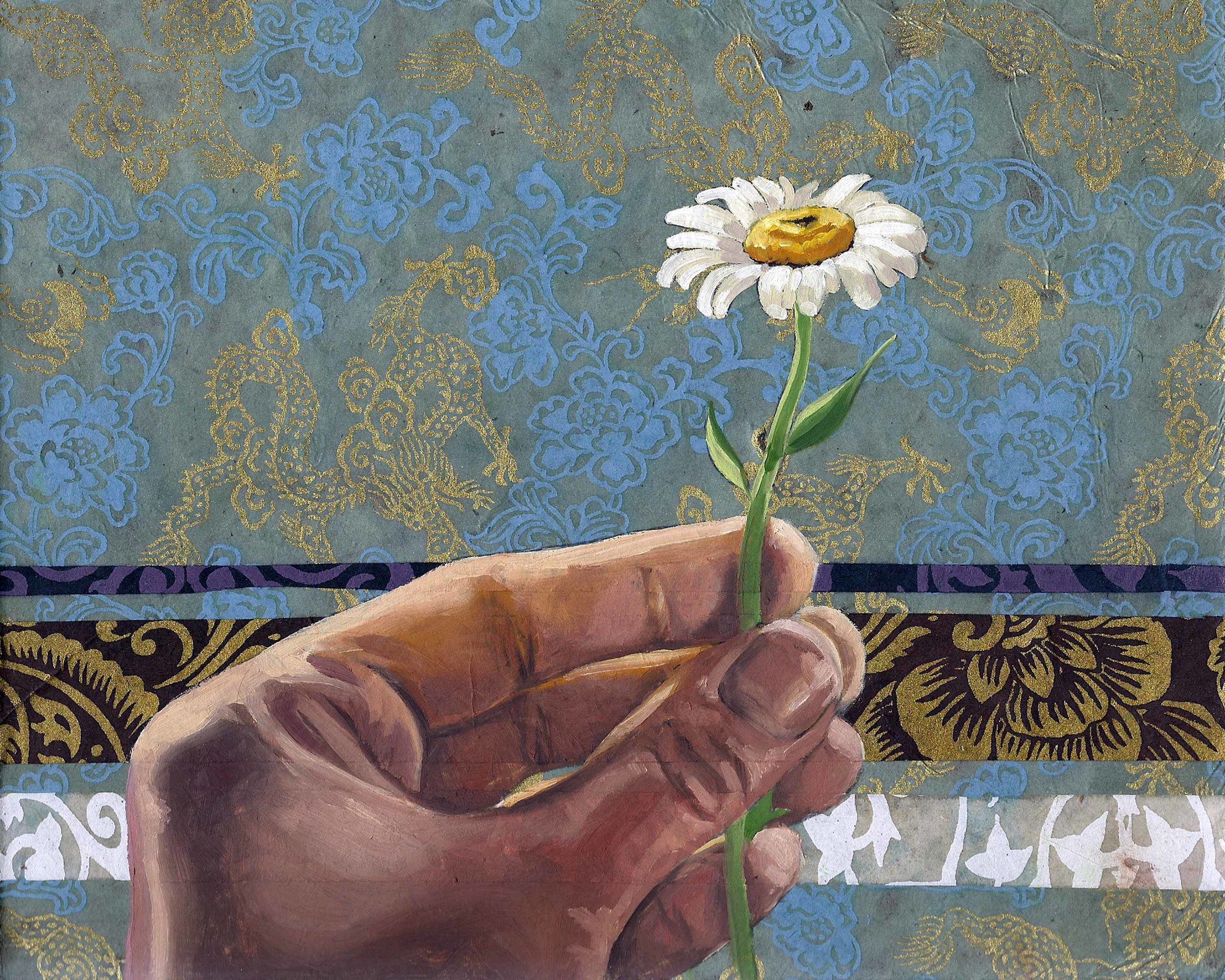 """Daisy, 8 x 10"""", oil and rice paper on panel, 2014"""