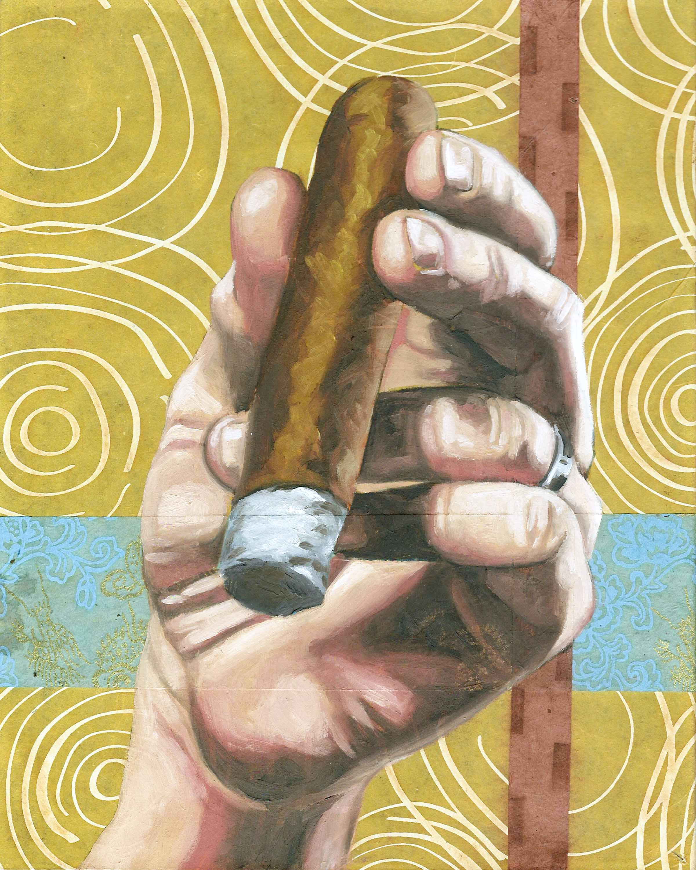 """Cigar, 8 x 10"""", oil and rice paper on panel, 2014"""