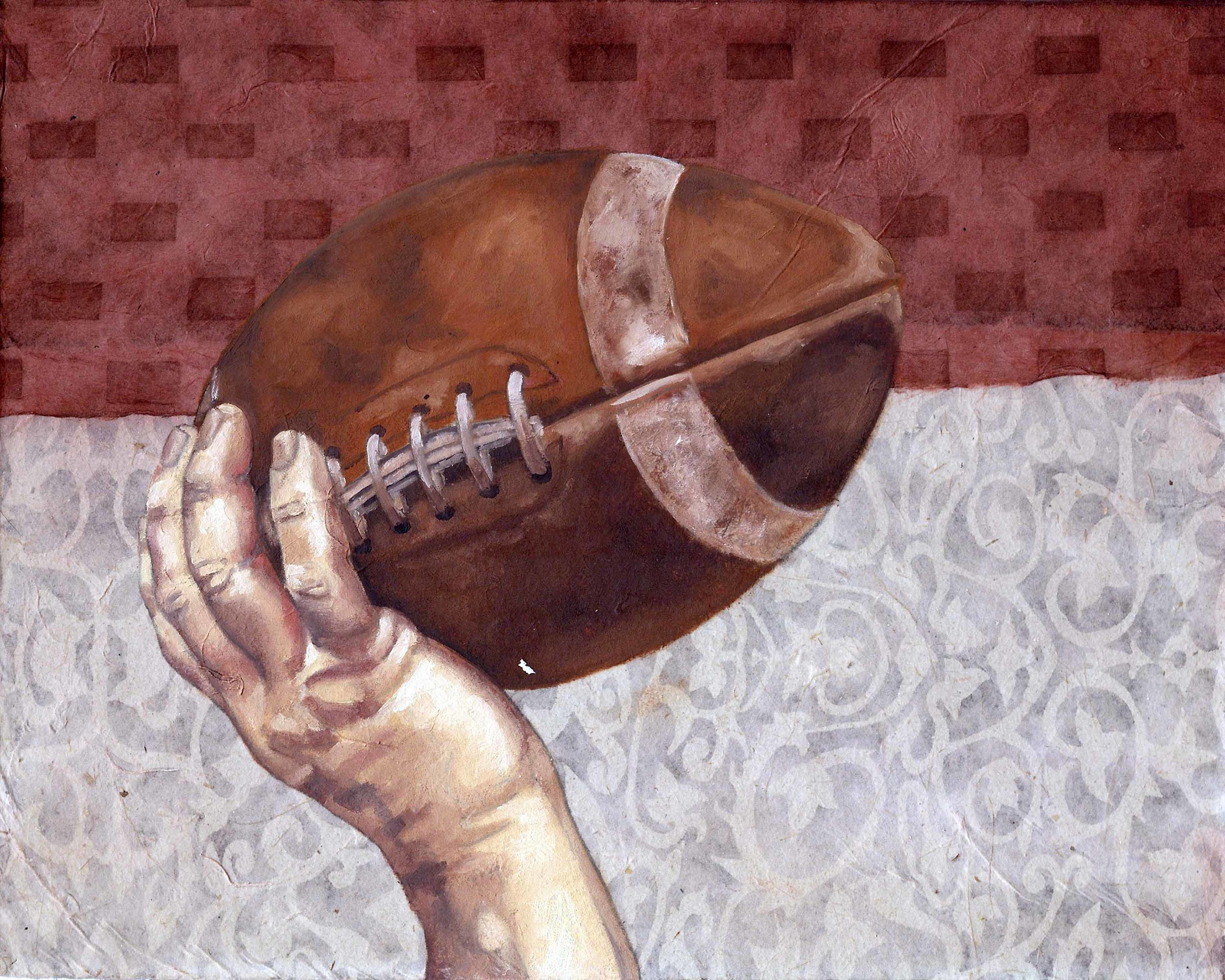 """Football, 8 x 10"""", oil and rice paper on panel, 2014"""