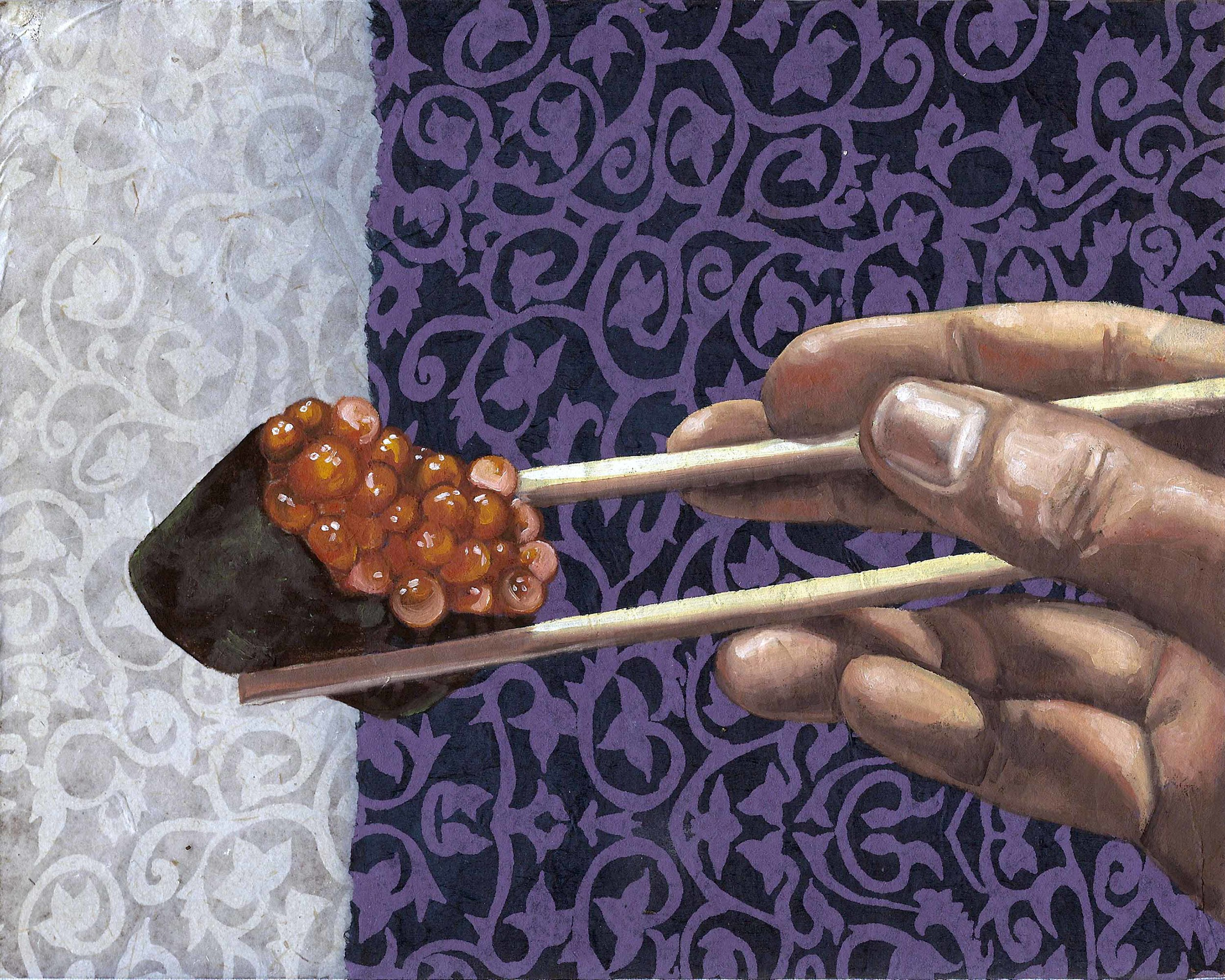 """Sushi Roe, 8 x 10"""", oil and rice paper on panel, 2014"""