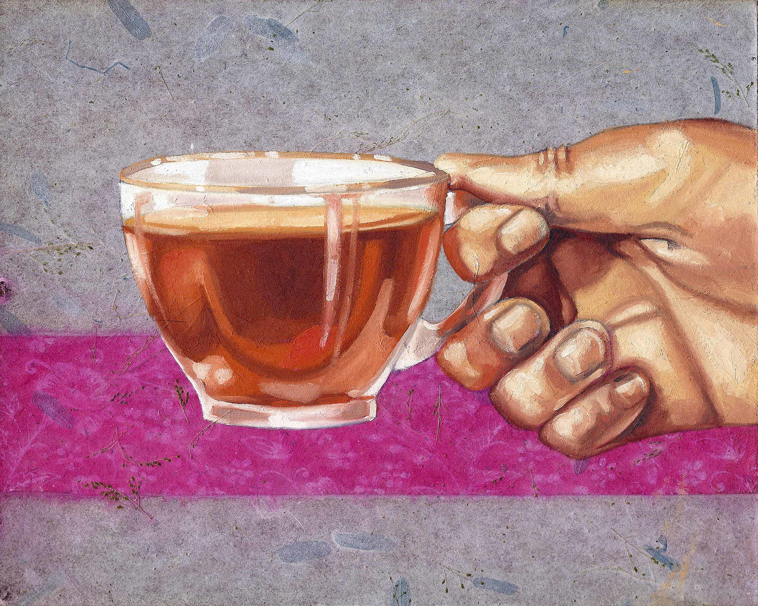 """Tea Cup, 8 x 10"""", oil and rice paper on panel, 2014"""