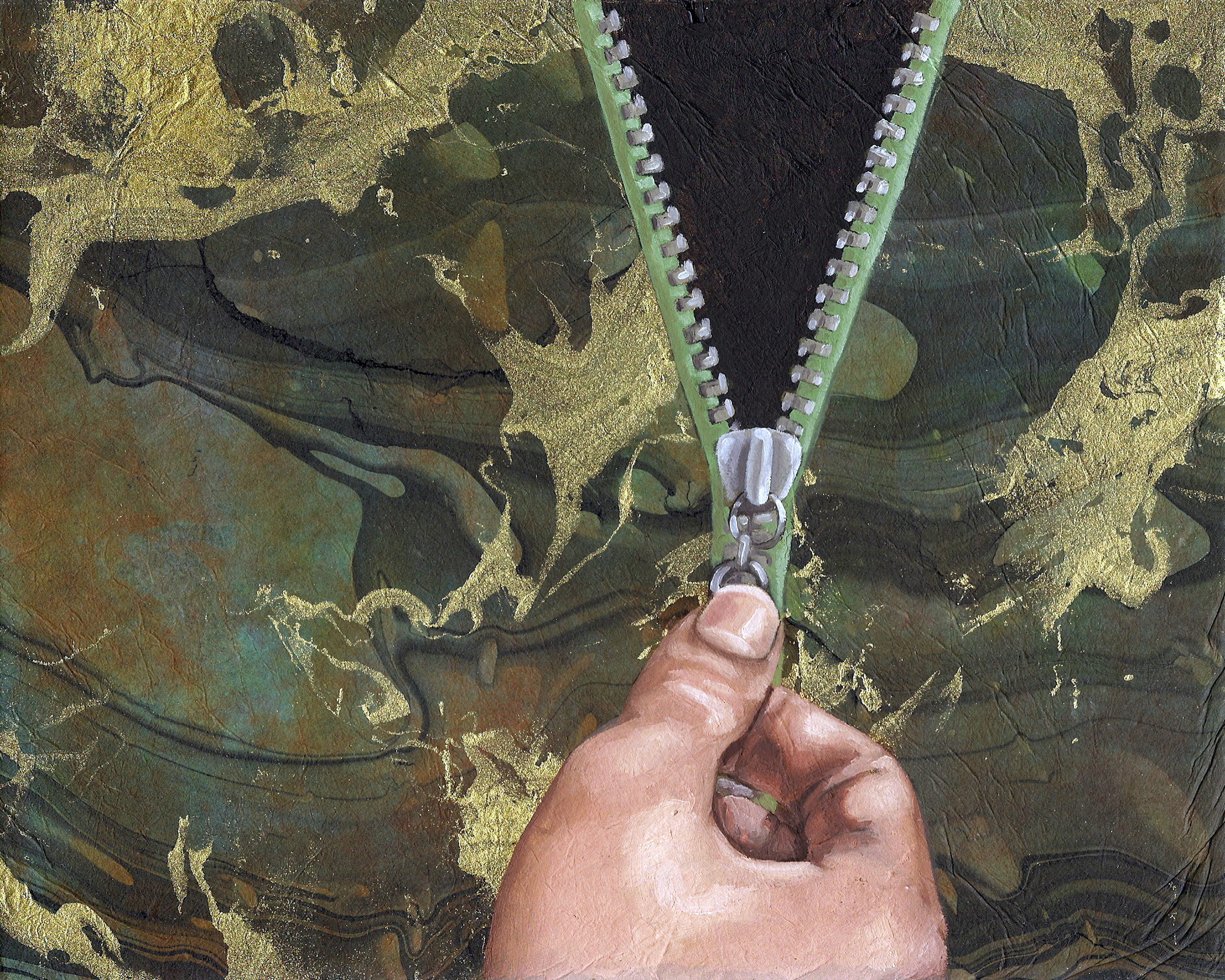"""Camo Hoodie, 8 x 10"""", oil and rice paper on panel, 2014"""