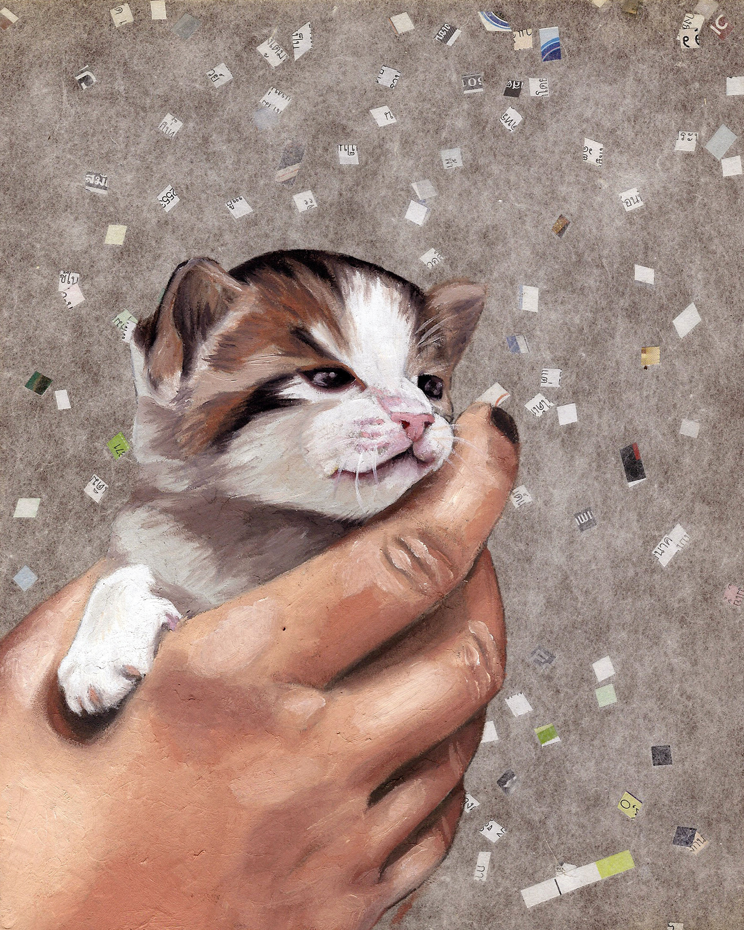 """Kitty, 8 x 10"""", oil and rice paper on panel, 2014"""