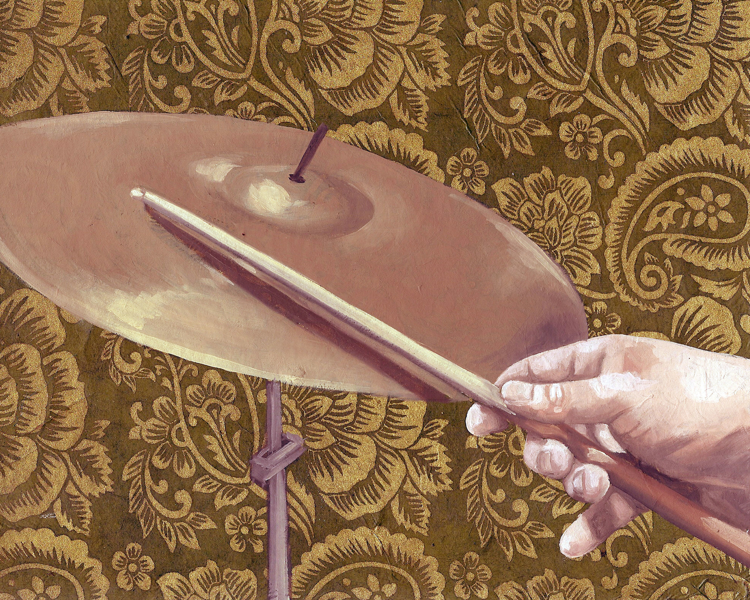 """Cymbal, 8 x 10"""", oil and rice paper on panel, 2014"""