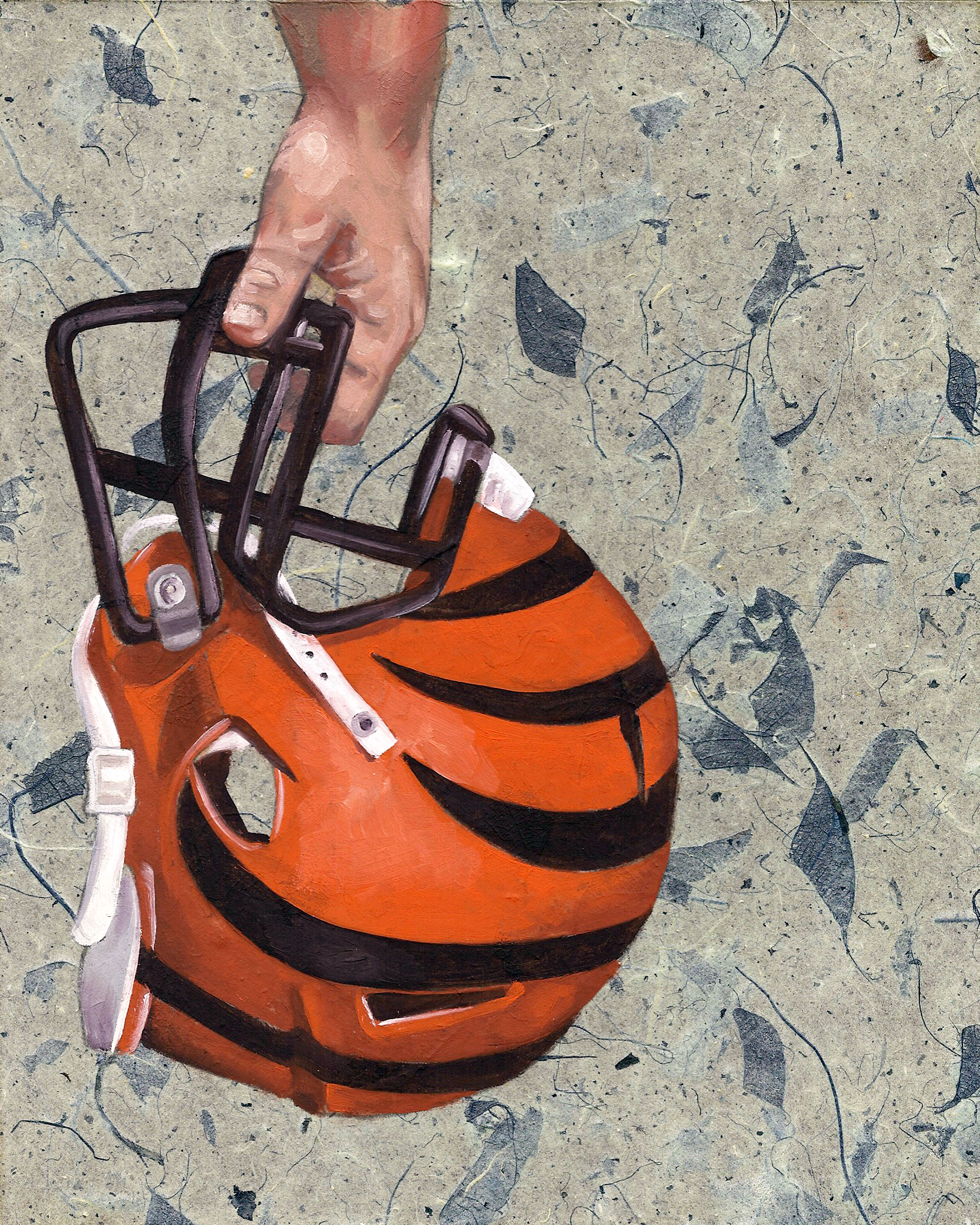 """Who Dey, 8 x 10"""", oil and rice paper on panel, 2014"""