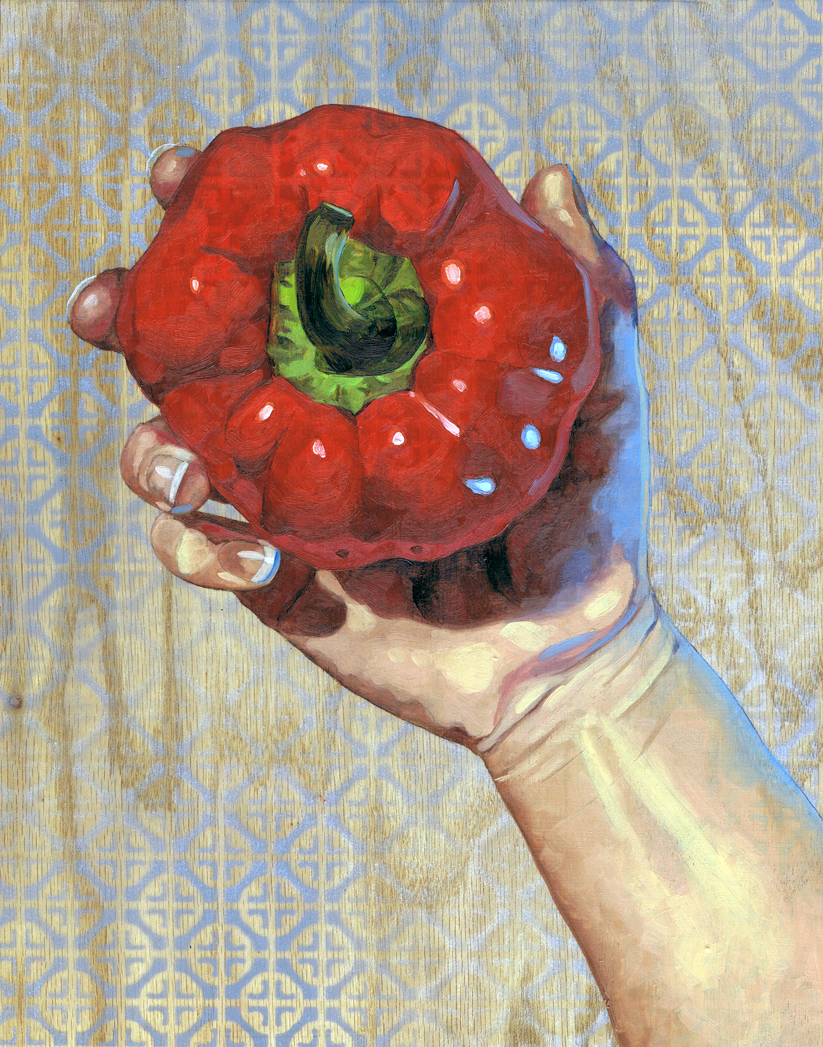 """Red Pepper, 14 x 11"""", oil on panel, 2016"""