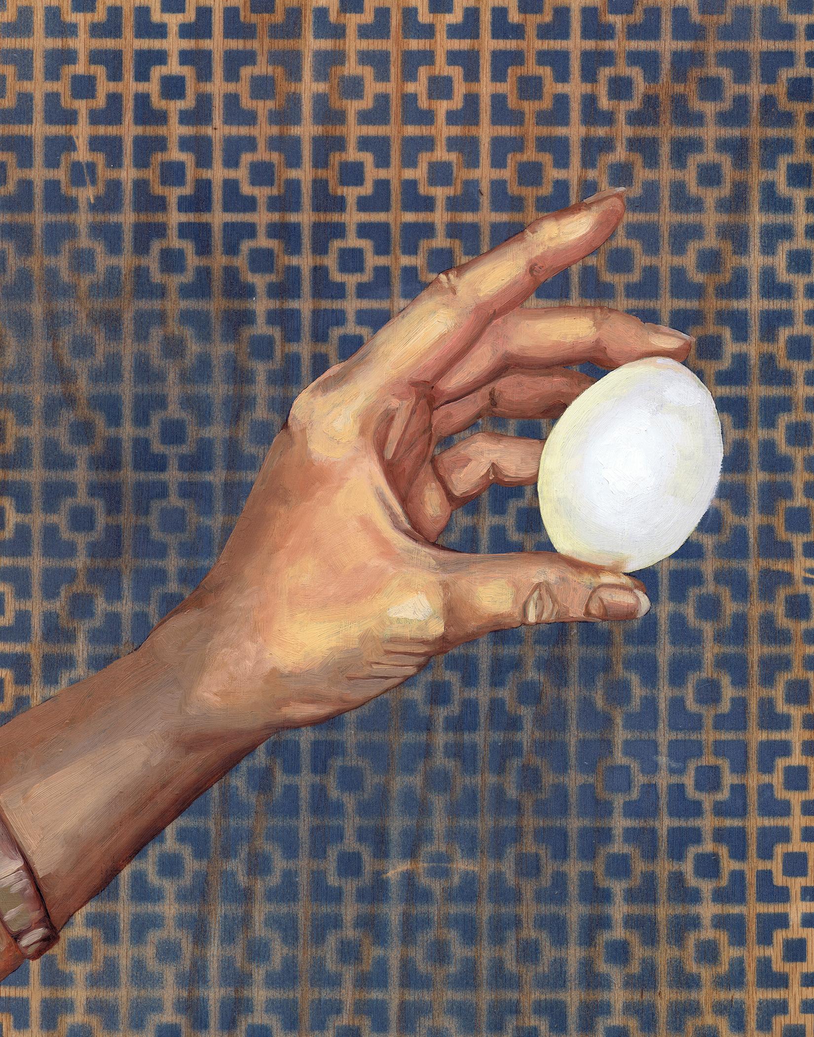 """1 Egg, 14 x 11"""", oil on panel, 2016"""