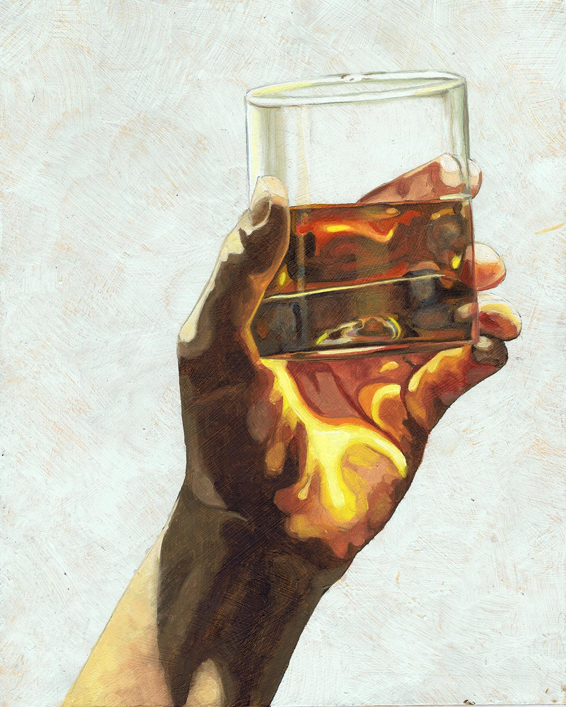 """Bourbon, 10 x 8"""", oil on panel, 2016"""