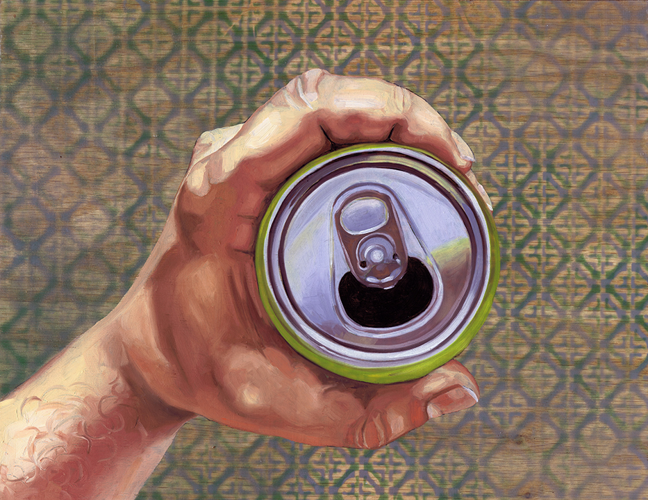 """Open Beer Can 11 x 14"""", oil on panel, 2016"""