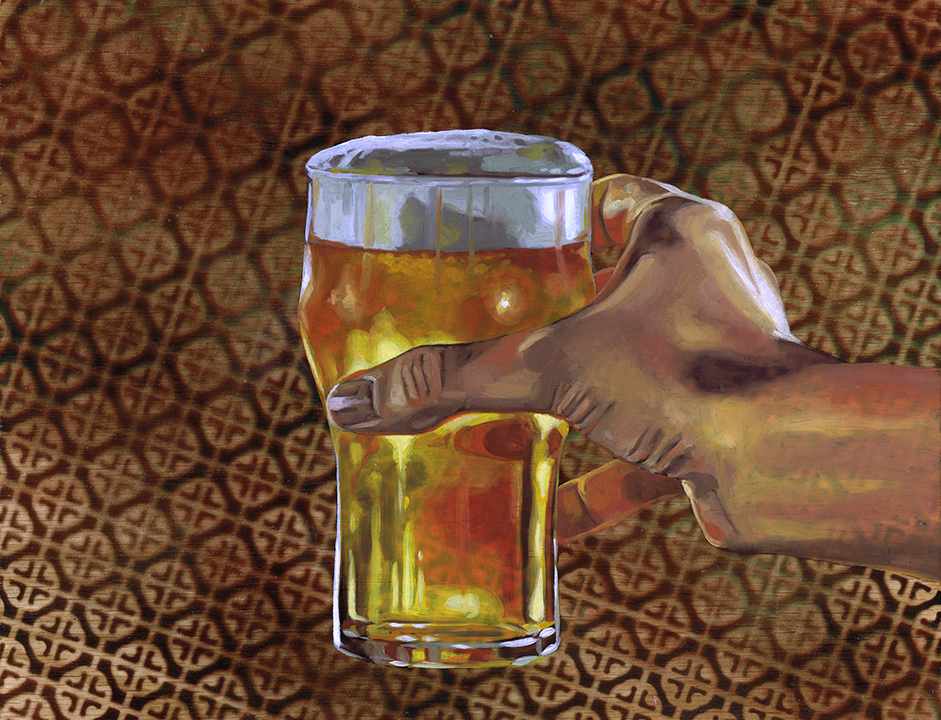 """Nonic Pint Glass, 11 x 14"""", oil on panel, 2016"""