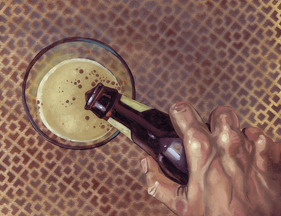 """Stout Pour, 11 x 14"""", oil on panel, 2016"""