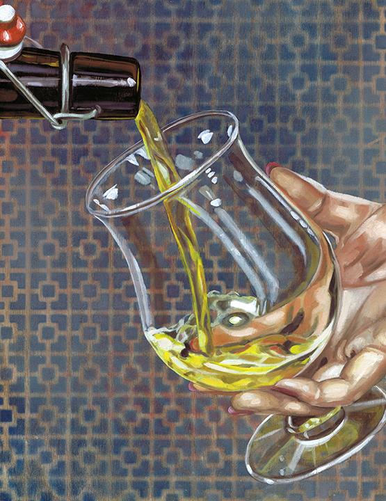 "Tulip Glass, 14 x 11"", oil on panel, 2016"