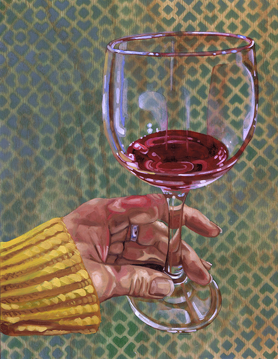 """Red Wine Glass #2, 14 x 11"""", oil on panel, 2016"""