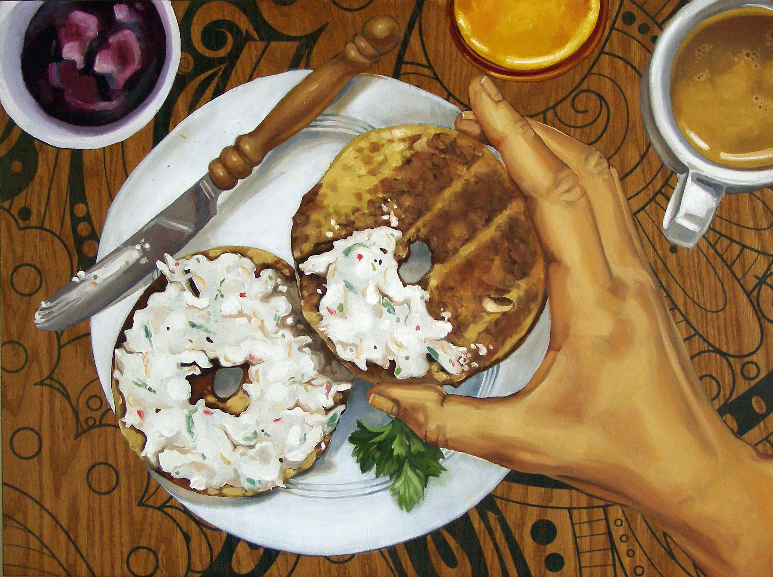 """Bagel Breakfast, 24x18"""", Oil on Panel, 2018"""