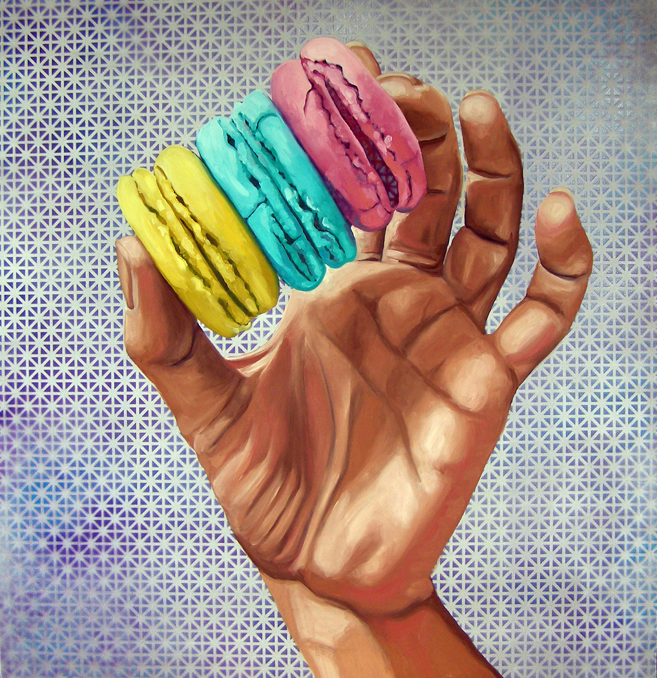 "Main Street Macaron, 31 X 30"", Oil on panel, 2019"