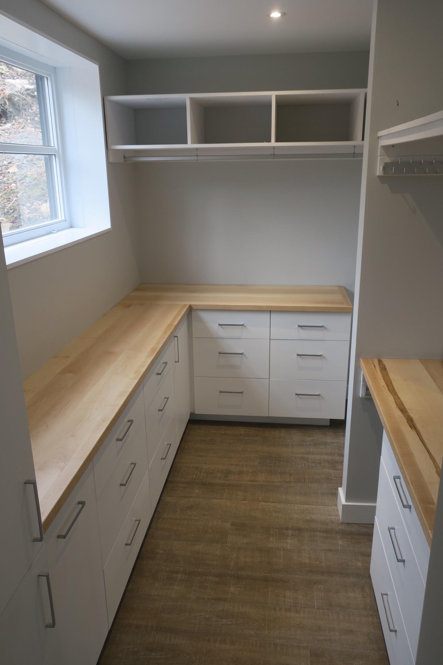 White Lacquer and Maple Walk-in Closet