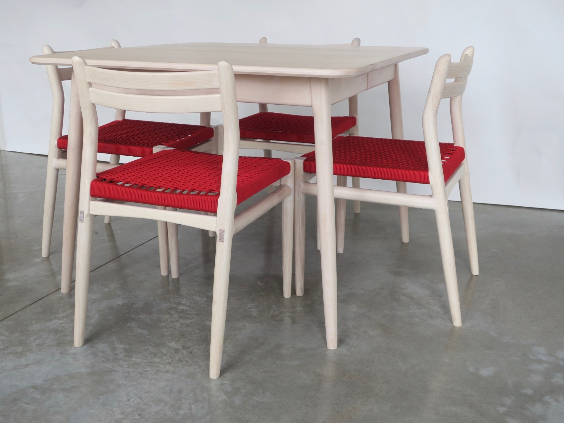 """Lars Extension Table (with removable legs) in Whitewashed Beech - 40"""" x 40-62"""""""