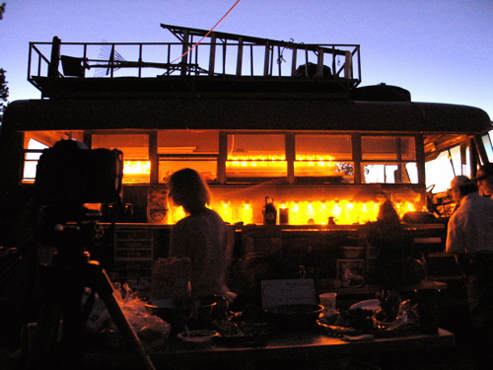 Artist, locals and visitors enjoy sunset and dinner on the rim