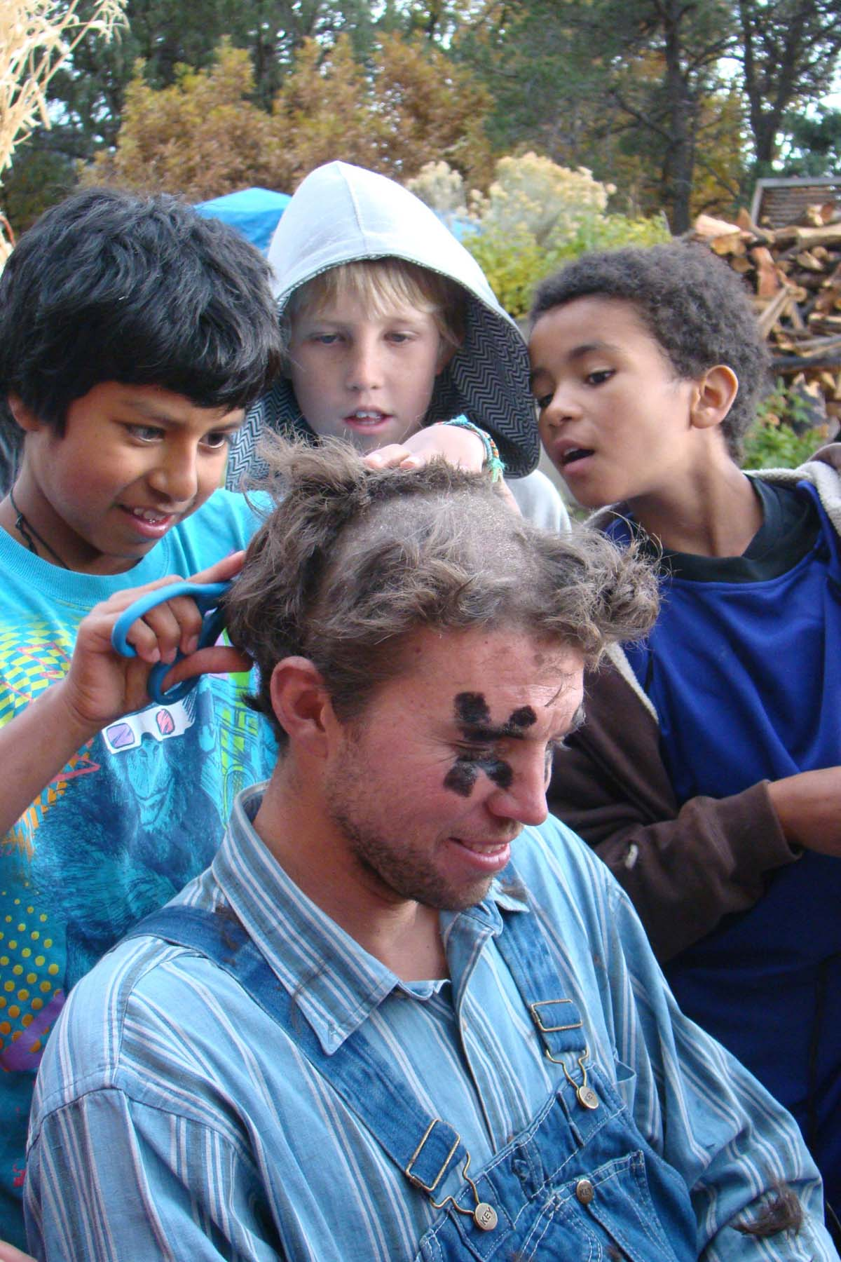 What's scarier than the Haunted Barnyard...? Not this hairdo- it's super awesome! He/She who sells the most raffle tickets shears the shepherd.