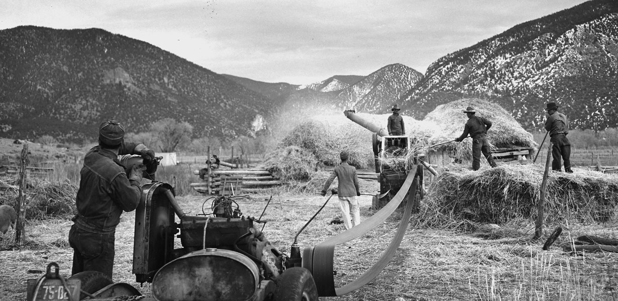 Men threshing wheat. Courtesy National Archives, photo no. 521836 Photographer: Irving Rusinow, Questa, NM circa 1941