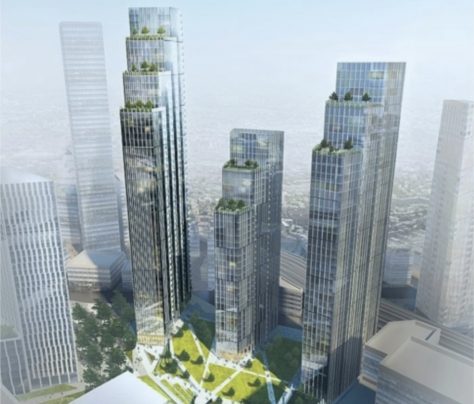 Phase one of around a dozen buildings planned for the site near the new US Embassy in London