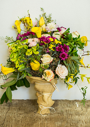 Seasonal Bouquet in a Recycled Wrap or Vase -