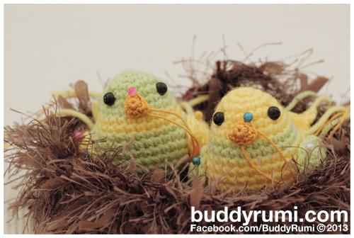 Nesting birds amigurumi crochet