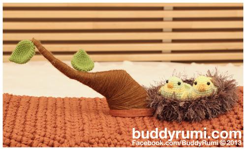 Amigurumi crochet kitten bed