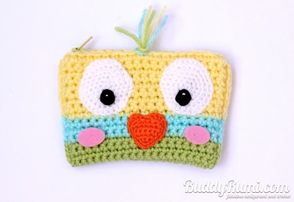 Crochet wallet little bird