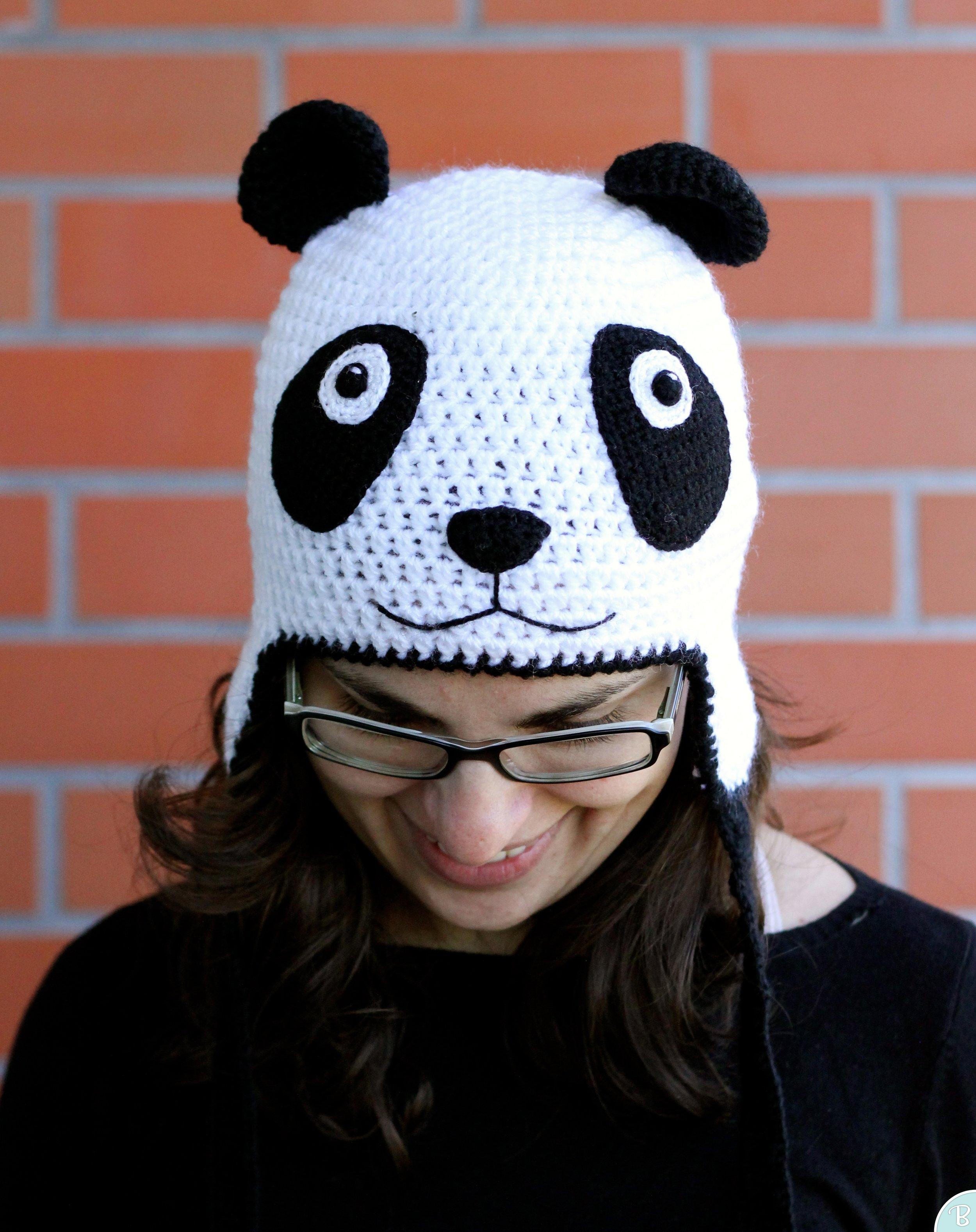 Panda crochet hat