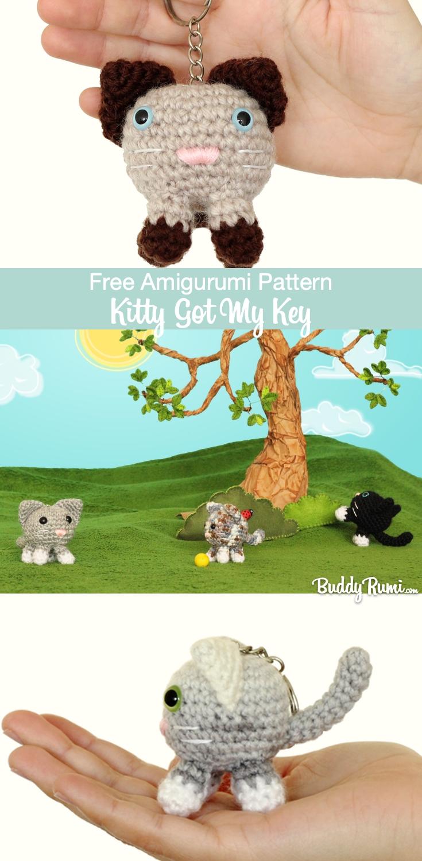 Amigurumi kitty keychain