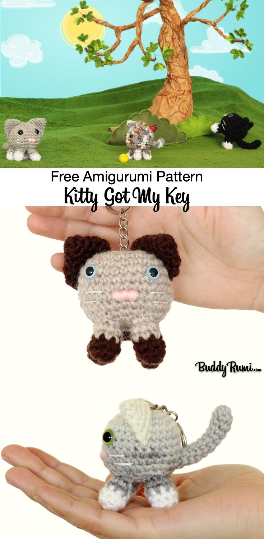Crochet kitty charm pattern