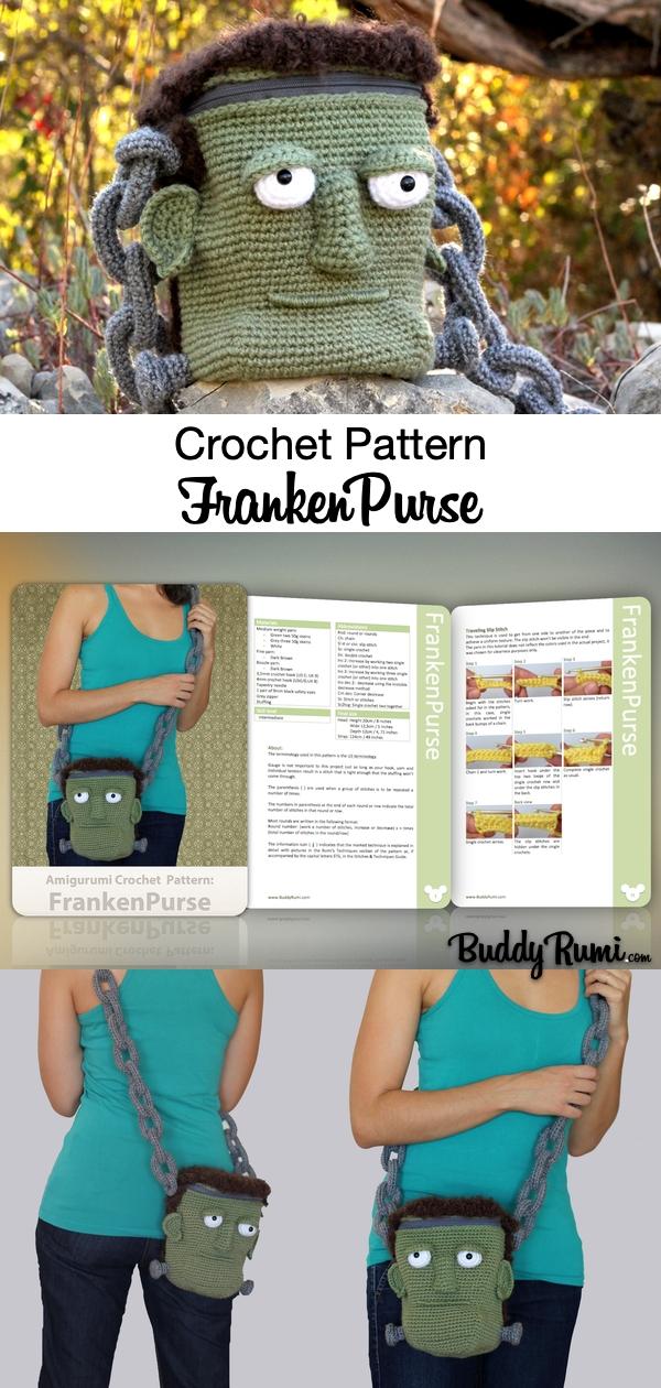 Frankenstein Monster crochet head bag