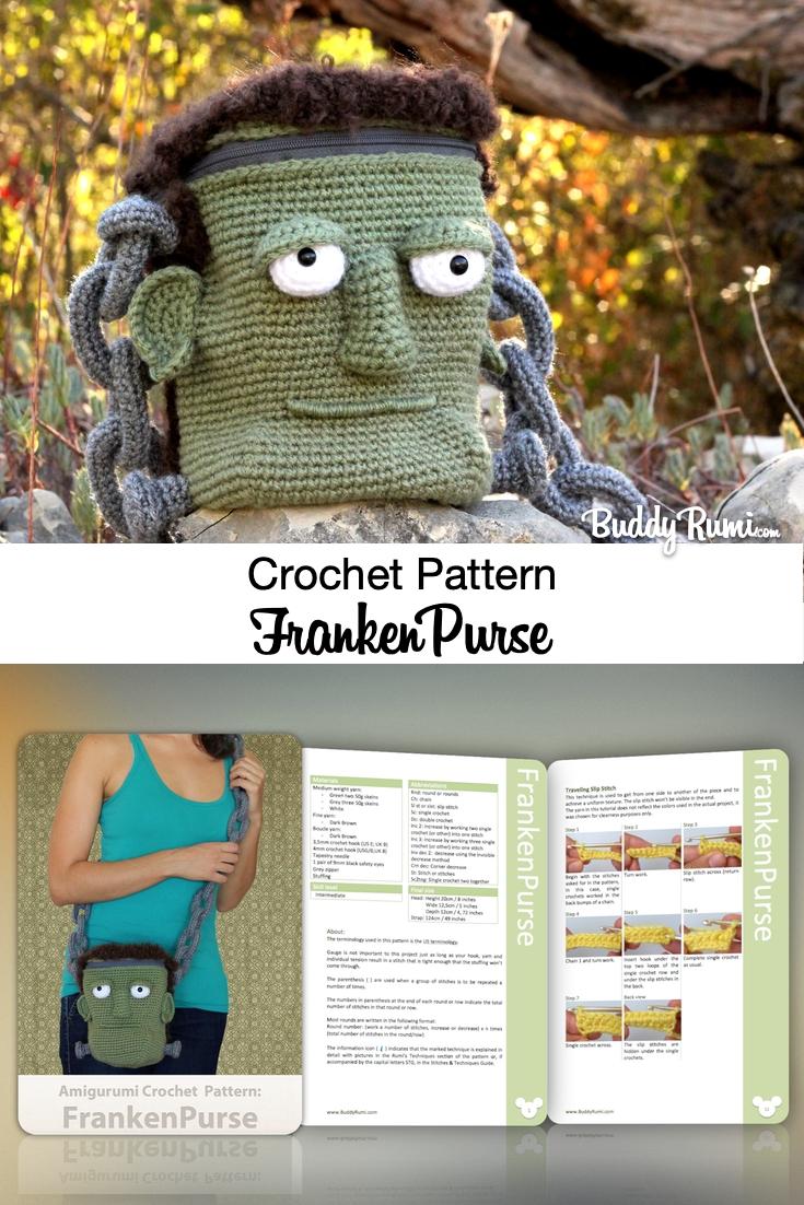 Halloween monster head crochet bag
