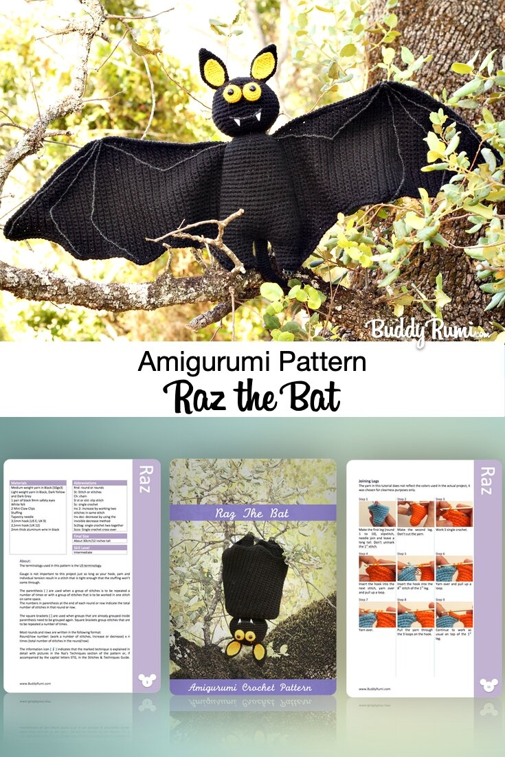 Crochet pattern for Halloween bat