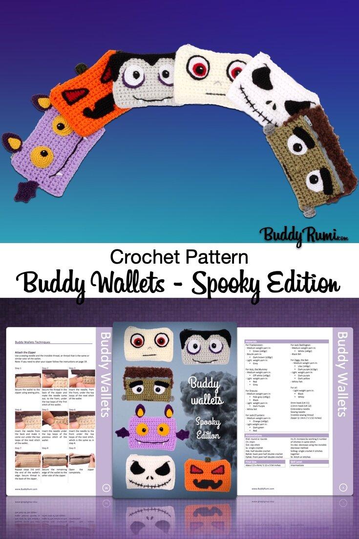Halloween crochet pattern, crochet pattern mummy, pumpkin, Jack Skellington, bat, Frankenstein monster, vampire, Jack-o'-lantern