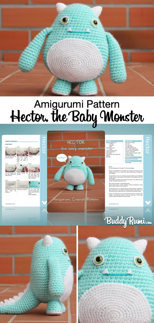 Crochet patter baby monster amigurumi