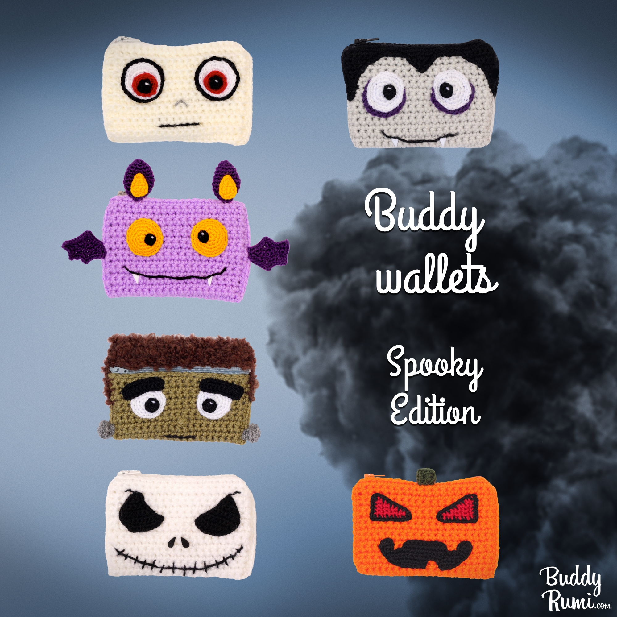Spooky crochet wallets pattern, mummy, pumpkin, Jack Skelligton, Frankenstein, bat, vampire