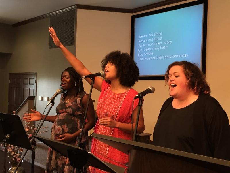 """singing """"We Shall Overcome""""at our #BlackLivesMatter Celebration service"""