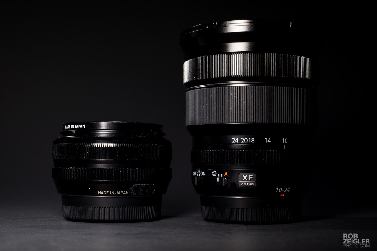 The Fuji 18mm f/2 prime (left) compared to the Fuji 10-24mm f/4 zoom (right)