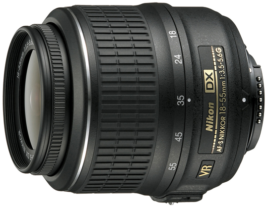 Close up of the Nikon 18-55 mm f/3.5-5.6 zoom lens. A very capable, all around lens.
